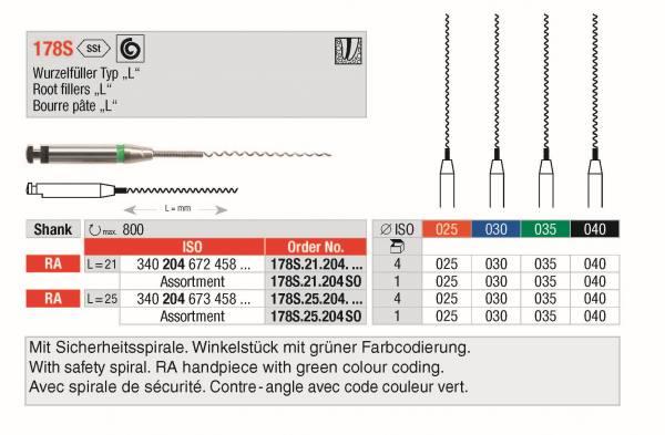 Wurzelfüller Typ L (Lentulo) mit Sicherheitsspirale in 21 und 25 mm in den Grössen 025, 030, 035, 0,40. VPE 4 Stück