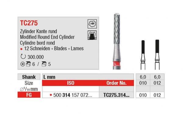 Hartmetall-Finierer TC275 Zylinder Kante rund- Schaft 314 / FG Ø 010, 012