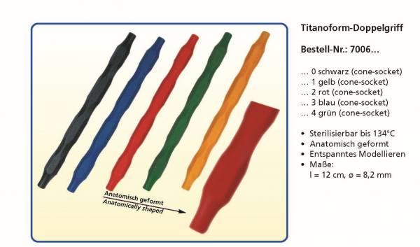 Kunststoffgriffe Dopopelendig -Titanoform - in den Farben Schwarz, Gelb, Rot, Blau, Grün