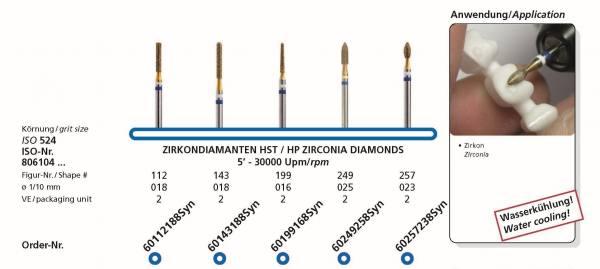 Zirkonbearbeitung HP-Zirkon-Diamanten für Zirkon im Schaft 104 - VPE 2 Stck.