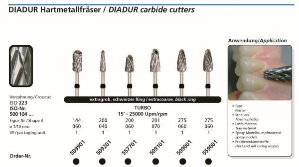 Hartmetallfräsen DIADUR Turbo - Gips, Kunstoff, Schelllack, Löffelmaterial