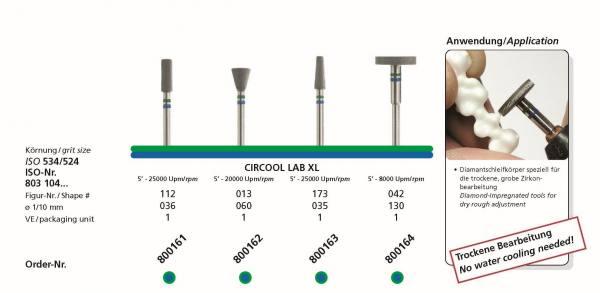 Zirkonbearbeitung CIRCOOL LAB XL Diamantschleifkörper speziell für die trockene, grobe Zirkonbearbeitung
