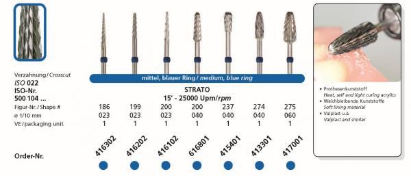 Hartmetallfräse STRATO - Einsatzgebiet: Prothesenkunststoffe, weichbleibende Kunststoffe, Valplast
