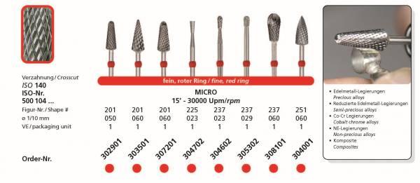 Hartmetallfräse DIADUR MICRO - Einsatzgebiet: NE-Legierung, Co-CR, Edelmetall, reduzierte Edelmetalle, Komposite