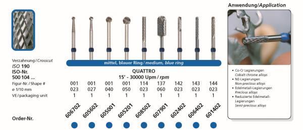 Hartmetallfräsen DIADUR QUATTRO - Co-Cr, NE-Legierung, Edelmetall-Legierung