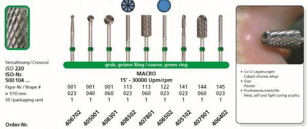Hartmetallfräsen DIADUR MACRO - Co-Cr, Gips, Prothesenkunststoff
