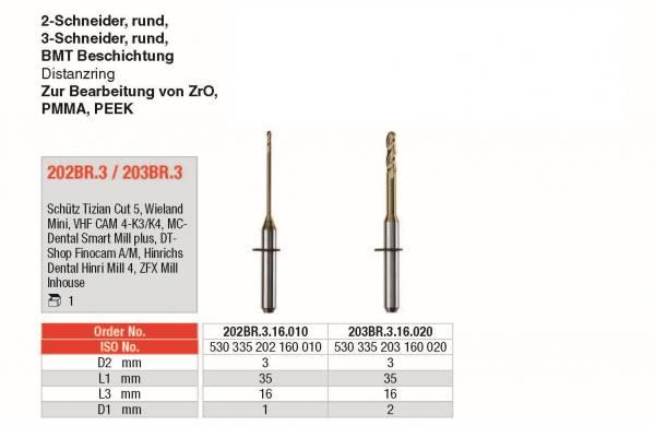 2-Schneider. rund, 3-Schneider rund -BMT Beschichtung Distanzring - für PMMA, PEEK, ZrO