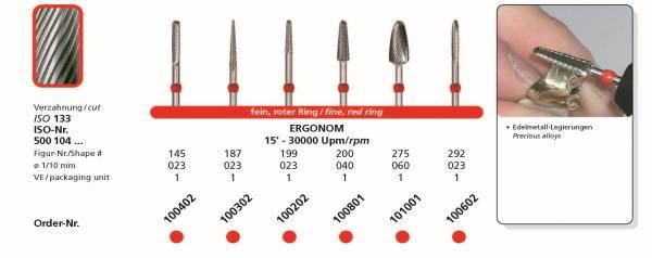 Hartmetallfräsen ERGONOM - Einsatzgebiet: Edelmetall-Legierungen