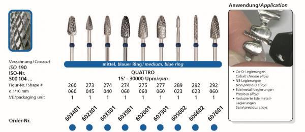 Hartmetallfräsen DIADUR QUATTRO - Einsatzgebiet: Co-Cr, NE-Legierung, Edelmetall-Legierung, reduzierte Edelmetalllegierung
