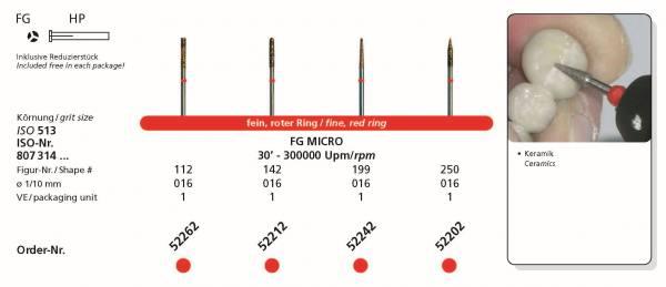SIDIA Sinterdiamanten FG MICRO Kopfgrösse 016 Schaft FG / 314 - inklusive Reduzierstück HP. Damit können Sie den Sinteriamanten auch im Handstückschaft nutzen.